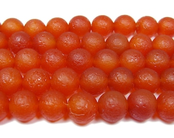 Antiqued Red Agate Round Gemstone Beads