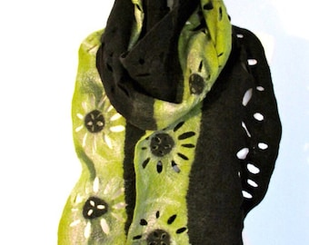Lacy scarf black and green  merino wool and silk scarf