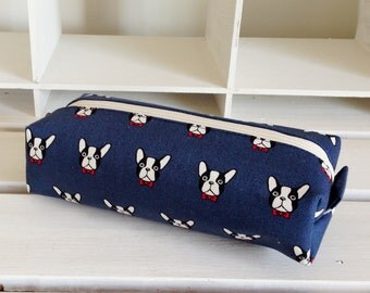 Long box pouch - French bulldog in navy