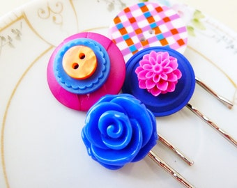 Flower Bobby Pin Set, Vintage Button Bobby Pins, Big Button Hair Pin, Rockin' Plaid Hair Accessorie Set in Pink Orange Blue SALE