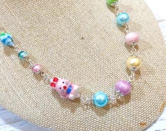 Pastel Beaded Necklace, Porcelain Rabbit Necklace, Pink Bunny Necklace, Easter Statement Necklace, Kawaii Necklace, KreatedbyKelly