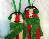 1 caroling winter bacon ornament - ear muffs and a scarf Christmas Holiday themed breakfast treat - two options meaty or fatty bacon