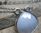 Philotes necklace ... sterling silver / wire wrapped / blue chalcedony / sapphire / rainbow moonstone