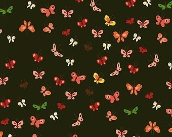 Heather Ross Tiger Lily Mud Butterflies cotton quilt fabric - fat quarter