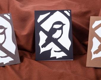 Blank All Occasion Greeting Card, Chickadee Silhouette Card, 5x7 Bird Papercut Scherenschnitte Greeting Card, Blank Card Bird Card