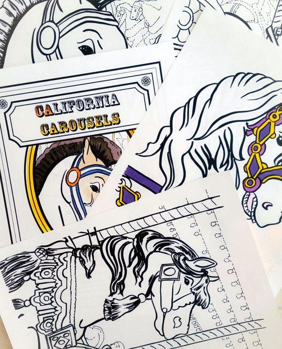 Carousel Horse Coloring Book Printable PDF Colouring Book
