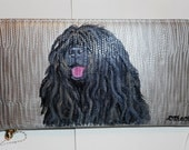 Hungarian Puli Dog Hand Painted Leather Wallet for Women Wristlet