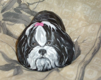Shih Tzu Dog Hand Painted  Rock Art Figurine Paper Weight OOAK