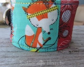 Quilted Bracelet | One of a kind | Fabric Bracelet | Hypoallergenic | Fox and Dog | Small Gift Under 20 | Sewn Bracelet | Jewelry Under 20