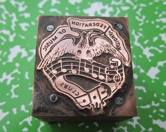Music Clubs National Federation Antique Letterpress Printers Block