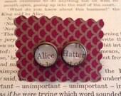 Alice in Wonderland Earrings - Alice, Hatter - Mad Hatter, Lewis Carroll, literary jewelry