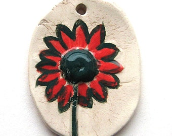 Rustic Ceramic Daisy Pendant with Red Petals   Statement Size by Mary Harding
