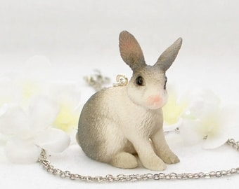 Gray Dutch Bunny Rabbit Necklace Violet - Bunny Necklace - Rabbit Jewelry - Grey White Dutch Rabbit