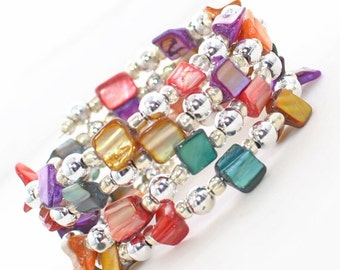 Multicolor Shell Wraparound Bracelet Cuff Sparking Carnival - Memory Wire Bracelet - Colorful Bracelet