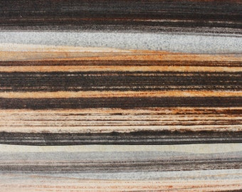Stripes 92 - orange, brown, gray striped Collagraph hand-pulled print - 4.25 x 4.25 inches OOAK
