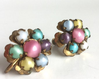 Pastel Flower Earrings - Colorful Moonglow Glass Stones - Green, Yellow, Blue, Purple, & Pink - Antique Brass Leaves - Vintage Screw Backs