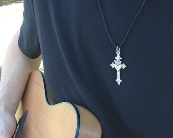Sacred Heart With Flame Top Sterling Silver Medium Sized Cross On Black Cord Artist Made OOAK Hand Crafted