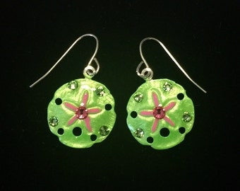 Tropical Sanddollar Earrings Handpainted in Green and Pink