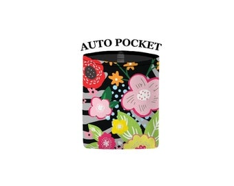 Auto Pocket - Floral Burst - Black - Car Accessory Automobile Caddy Pouch Cell Phone Sunglasses Coin Cell Caddy Charger