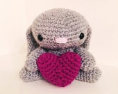 Crochet gray bunny with deep mulberry heart