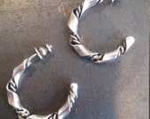 Handmade Vintage Twist Earring Hoops, Sterling Silver, Post with Smooth Ribbon