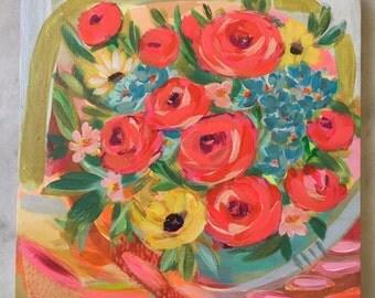 Vintage Bouquet 12x12 painting