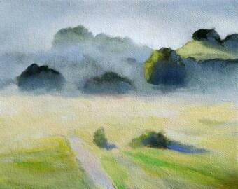 Foggy Hills California Landscape Painting Print of Original Painting 8.5x11