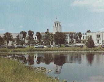 Vintage 1950s Postcard Leesburg Florida High School Alma Mater Reunion Lake View Architecture Photochrome Era Postally Unused