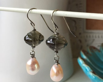Smoke and Pearls. Sterling Silver Earrings with Blush Pink Pearls and Vintage Glass