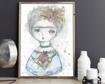 Frida in dreams - Art print on paper with the original watercolor art of Danita.