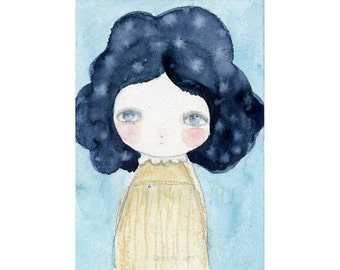 Starry hair - Giclee Reproduction Of Original Watercolor Painting By Danita Art (Paper Prints and ACEO Wood Mounted)