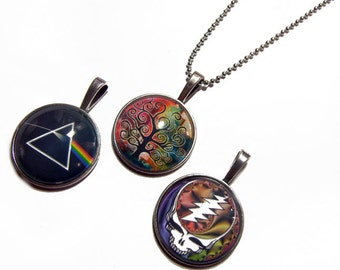 Lot of 3 - Dark Side of the Moon, Tree of Life, Grateful Dead Steal Your Face Pendants 1 Inch Photo Pendant with 24 inch Ball Chain Necklace