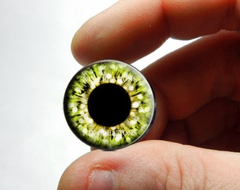 Custom Blythe Eye Chips - Yellow Glitter Design Human Doll Taxidermy Handmade Glass Cabochons for Jewelry - Pair or Single - You Choose Size