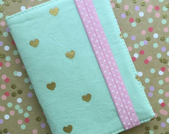 Gold hearts on mint green passport case cover - travel gear - ID Case