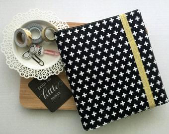 White Crosses on Black - Planner Cover - Fits Erin Condren Life Planner - Planner Accessories