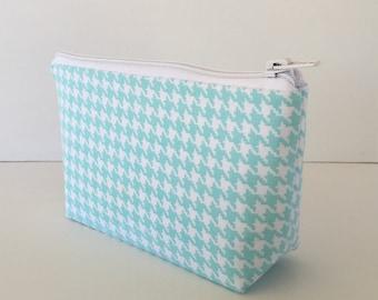 Houndstooth makeup bag, blue, cosmetic bag, zipper pouch, zipper bag, gift for her, make up bag,