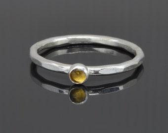 Tiny Citrine Stacker Ring in Sterling Silver Handmade