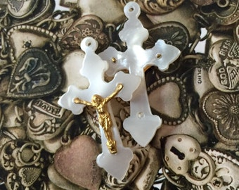 2pcs VINTAGE PEARLY CRUCIFIXES Religious Medals Celluloid Rosary Parts French