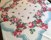 Vintage Tablecloth - Scalloped Aqua Blue Border w/ Pink and Red Roses Central Rose Bud Printed Table Linen - Vivid Retro Colors