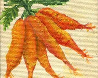 Carrots mini acrylic painting, mini canvas art original, kitchen decor, food wall art, illustration, acrylics painting of carrots art