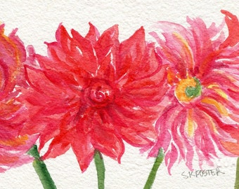 Dahlia watercolor painting original, watercolor flowers,  Flower Painting, Small Floral Wall Art 4 X 6 original watercolor painting