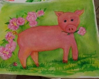 Pig watercolor painting, original Pig Art,  whimsical pig artwork, watercolor painting original of piglet, nursery art, Happy Pig art