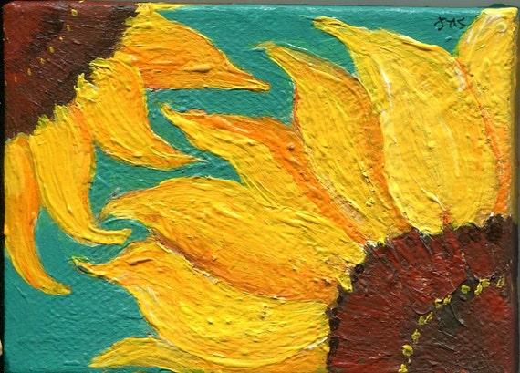 Sunflowers mini canvas art painting, sunflowers canvas art, sunflower wall art, sunflower decor, acrylic painting canvas art, sunflower art