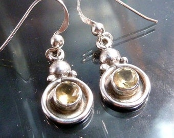 Citrine Orbs Earrings in Sterling Silver celestial geometric circles faceted stones