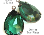Emerald Green Glass Beads, Patina Brass Settings, One or Two Rings, 18mm x 13mm, Pear Teardrop, Sheer, Dark Green, Glass Charms, One Pair