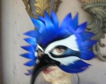 Blue Bird, bluebird leather bird mask by Faerywhere