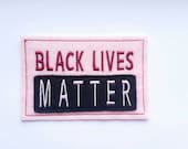 Black Lives Matter iron on patch in pink, activist patch,  patches for jackets,  embroidered patch, felt patch,  iron on patches,DIY