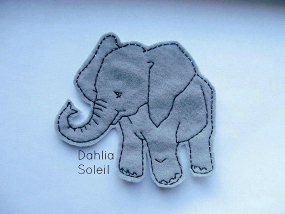 Iron on patch Bailey the Baby Elephant Applique - sew on patch - embroider patch - felt patch - gray - grey - customize