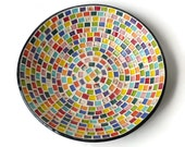Large Serving Bowl with Rainbow Squares FREE SHIPPING