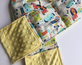 Weighted Scarf with Pockets, Neck Wrap, Lap Pad - Dogs Galore - Choose weight and minky color - special needs - flannel